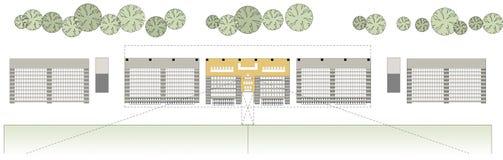 Het trekken: vloerplan van het voetbalstadion Stock Foto