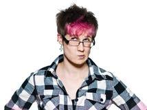 Het Trendy vrouw twijfelachtige verdachte peinzend denken Stock Fotografie