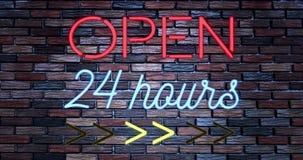 Het trillende het knipperen rode en blauwe neonteken op bakstenen muurachtergrond, open winkelbar 24 uren ondertekent stock illustratie