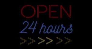 Het trillende het knipperen rode en blauwe neonteken op zwarte achtergrond, open winkelbar 24 uren ondertekent vector illustratie
