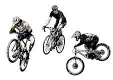 Het trio van Biking stock illustratie