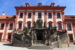 Het Trojapaleis is een Barok die paleis in Troja, het noordwestenstad wordt gevestigd van Praag (Tsjechische Republiek) Stock Fotografie