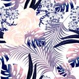 Het tropische bladontwerp met donkere, lichtgrijze palmen en de bladeren van een Monstera planten op een gele achtergrond Royalty-vrije Stock Foto's