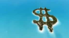 Het tropische eiland in de vorm van 3D Dollar geeft terug Stock Foto