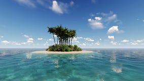 Het tropische eiland in oceaan 3D geeft terug Stock Foto's