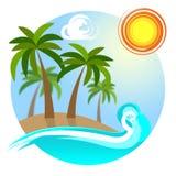 Het tropische Eiland toont op Verlof en Bestemmingen ga vector illustratie