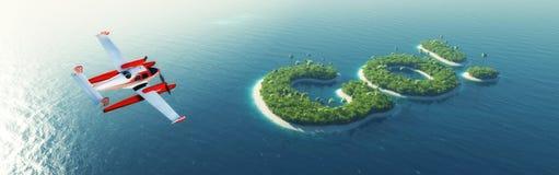 Het tropische eiland van de zomer Het kleine overzeese vliegtuig die aan privé paradijs tropisch eiland vliegen in de vorm van he Stock Fotografie
