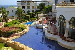 Het tropische hotel van de luxetoevlucht, Sharm el Sheikh, Egypte royalty-vrije stock afbeeldingen