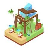 Het tropische Kostuum van de Bungalowvilla met Palmen Onroerende goederen strand Isometrische vlakke 3d illustratie Stock Fotografie