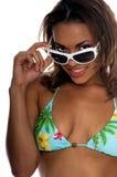 Het tropische Model van de Bikini Royalty-vrije Stock Afbeeldingen