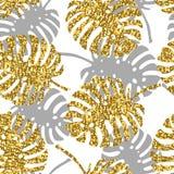 Het tropische naadloze patroon met monsterabladeren en gouden schittert textuur stock illustratie