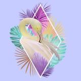Het tropische ontwerp van de bladerenflamingo in lichtrose, gouden, turkooise en violette kleuren stock foto