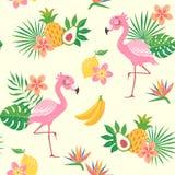 Het tropische patroon van de flamingovogel Stock Afbeeldingen