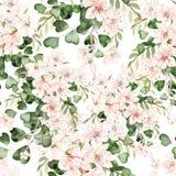 Het tropische patroon van de waterverflente met bloemen, eucalyptusbladeren stock illustratie