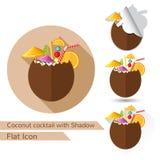 Het tropische vlakke ontwerp van de kokosnotencocktail met ovale lange schaduw en gevouwen hoek Stock Afbeeldingen