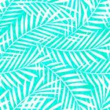Het tropische witte en groene naadloze patroon van palmbladeren Stock Afbeelding