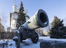 Het Tsaarkanon, binnen van Moskou het Kremlin op een zonnige de winterdag, Rusland Stock Foto's