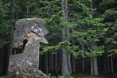 Het tuff steenmonument die het beeltenis van het menselijke hoofd tonen royalty-vrije stock fotografie