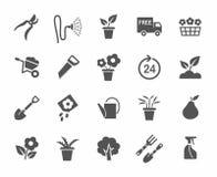 Het tuinieren, bloemen, pictogrammen, zwart-wit, witte achtergrond stock illustratie