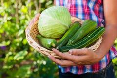 Het tuinieren in de zomer - vrouw met groenten Royalty-vrije Stock Foto's