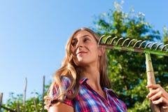 Het tuinieren in de zomer - vrouw met rooster stock fotografie