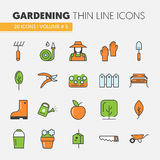 Het tuinieren Dunne Geplaatste Lijnpictogrammen vector illustratie