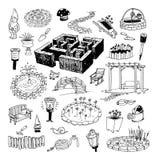 Het tuinieren elementendecoratie, illustratievector Royalty-vrije Stock Afbeelding