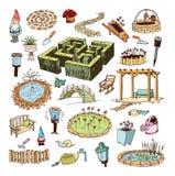 Het tuinieren elementendecoratie, illustratievector Stock Fotografie