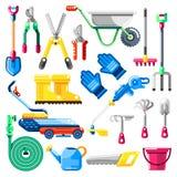 Het tuinieren en de landbouwhulpmiddelen en materiaal, vector geplaatste pictogrammen Landbouwillustraties royalty-vrije illustratie