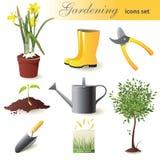Het tuinieren geplaatste pictogrammen vector illustratie