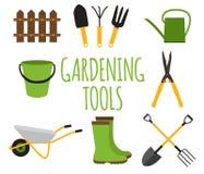 Het tuinieren Hulpmiddelen, de Inzamelingsreeks van het Instrumenten Vlakke Pictogram Vector IL Stock Foto's