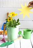Het tuinieren hulpmiddelen en bloemen abstract bloemenconcept Stock Foto