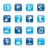 Het tuinieren hulpmiddelen en objecten pictogrammen Stock Foto's
