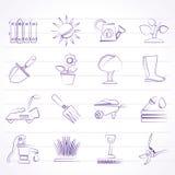 Het tuinieren hulpmiddelen en objecten pictogrammen Stock Foto