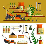 Het tuinieren Hulpmiddelenillustratie vectorpictogram vastgestelde vlakte Royalty-vrije Stock Foto