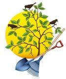 Het tuinieren materiaalhulpmiddelen Schop, hark en boom Vector illustratie vector illustratie