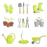 Het tuinieren Materiaalreeks Pictogrammen Stock Afbeelding