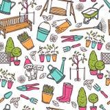 Het tuinieren naadloos patroon Royalty-vrije Stock Foto