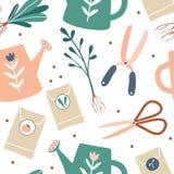 Het tuinieren naadloos patroon De leuke getrokken elementen van het tuinwerk hand Tuinhulpmiddelen: handschoenen, zaden, gieter A royalty-vrije illustratie