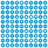 100 het tuinieren pictogrammen geplaatst blauw Stock Fotografie