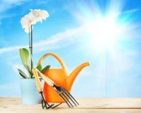Het tuinieren samenstelling met van de orchideebloem en tuin hulpmiddelen Stock Foto's