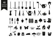 Het tuinieren Zwarte Geplaatste Pictogrammen Het tuinieren hulpmiddelen vectorreeks Royalty-vrije Stock Afbeeldingen