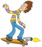 Het turbo met een skateboard rijden stock illustratie