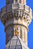 Het Turkse detail van de Moskeeminaret met traditioneel symbool Stock Afbeeldingen