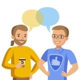Het tweepersoons spreken Bespreking van vrienden of collega's Vector stock illustratie