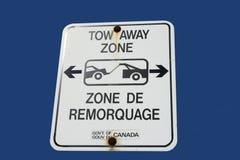 Het tweetalige teken van de slepen weg streek Stock Afbeeldingen