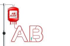 Het type ab dat van bloedzak rode kleur en Alfabet ondertekent de brief ab vorm van koordillustratie wordt gemaakt stock illustratie