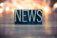 Het Type van het Metaalletterzetsel van het nieuwsconcept het Letterzetsel Ty van het Conceptenmetaal Royalty-vrije Stock Foto
