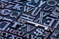Het type van letterzetselmetaal blokkensamenvatting Stock Fotografie