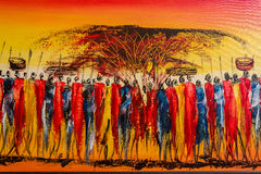 Het typische Keniaanse schilderen voor toeristen stock afbeelding